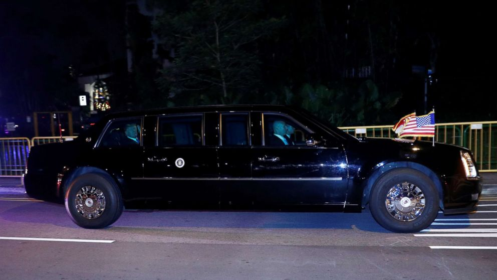 President Donald Trump travels in a motorcade after arriving in Singapore, June 10, 2018.
