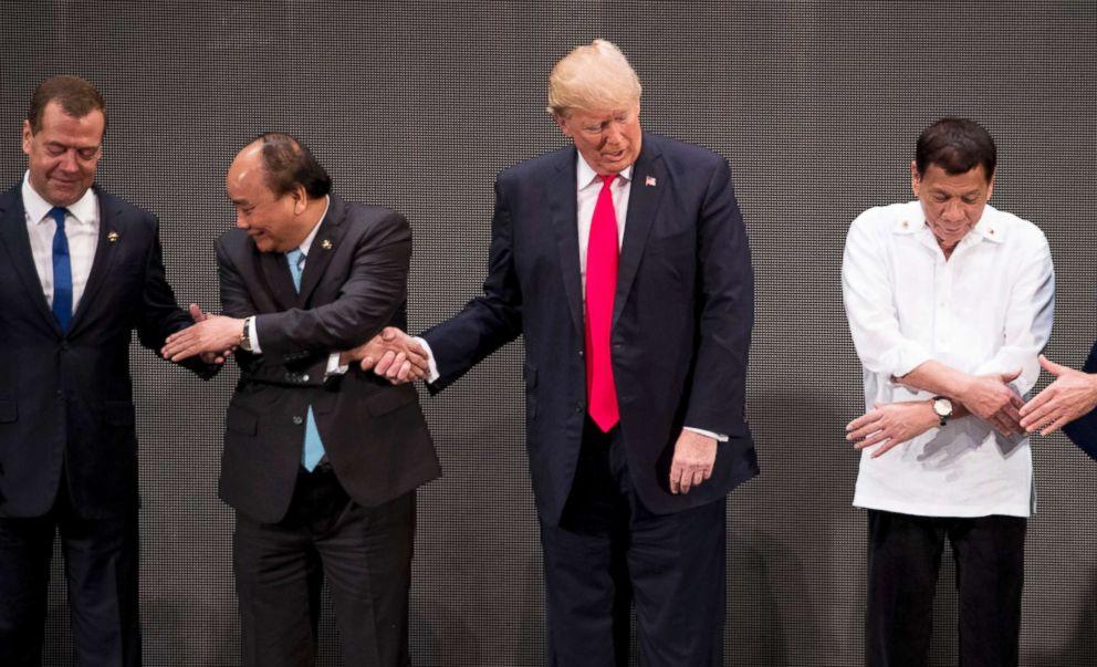 PHOTO: From left, Russian Prime Minister Dmitry Medvedev, Vietnamese Prime Minister Nguyen Xuan Phuc, President Donald Trump, Philippine President Rodrigo Duterte and Australian Prime Minister Malcolm Turnbull at the ASEAN Summit, Nov. 13, 2017 in Manila.