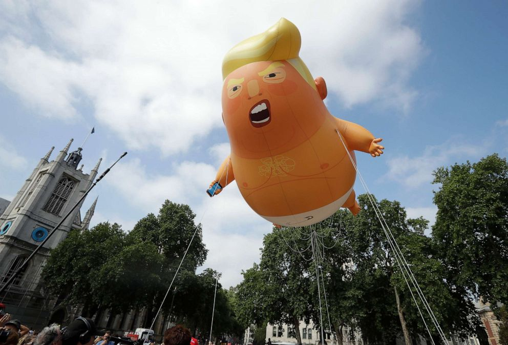 PHOTO: A six-meter high cartoon baby blimp of President Donald Trump is flown as a protest against his visit, in Parliament Square in London, July 13, 2018.