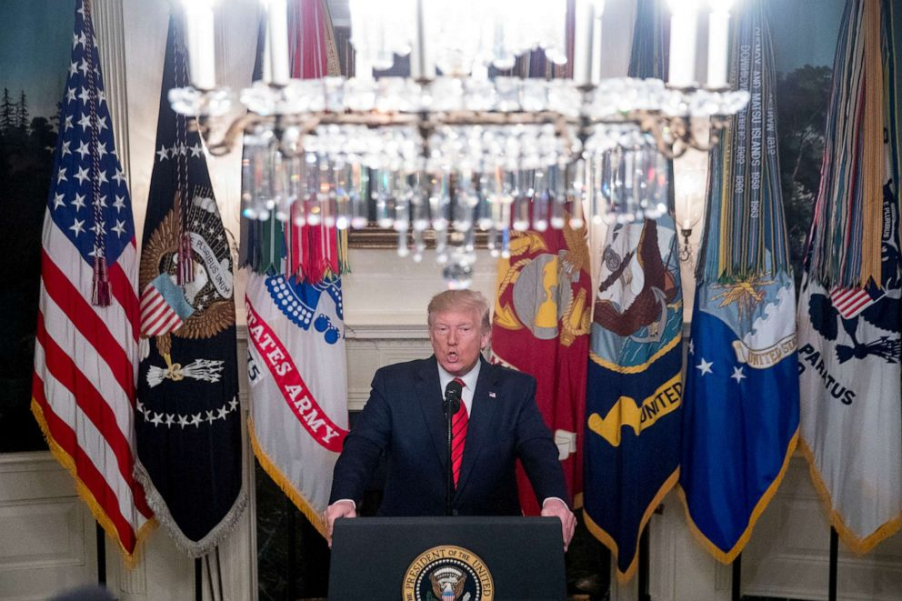 PHOTO: President Donald Trump speaks in the Diplomatic Room of the White House in Washington, Sunday, Oct. 27, 2019, to announce that Islamic State leader Abu Bakr al-Baghdadi has been killed during a US raid in Syria.