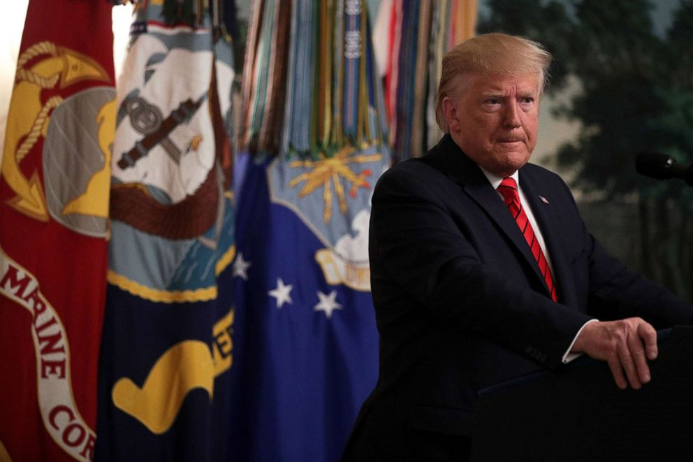 PHOTO: President Donald Trump makes a statement in the Diplomatic Reception Room of the White House in Washington, D.C., Oct. 27, 2019.