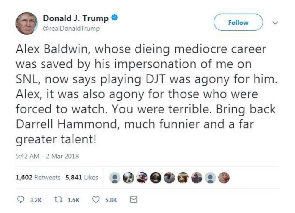 Donald Trump attacks 'Alex' Baldwin on Twitter over ...