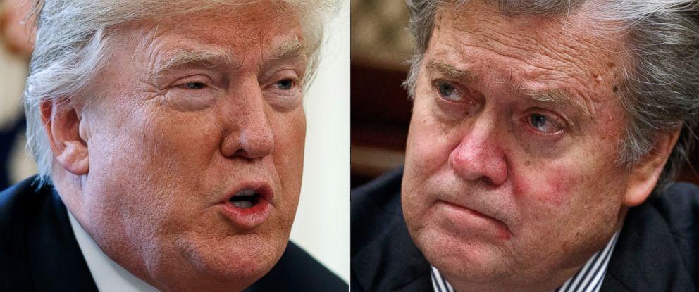 PHOTO: President Donald Trump, left, former advisor Steve Bannon, right.