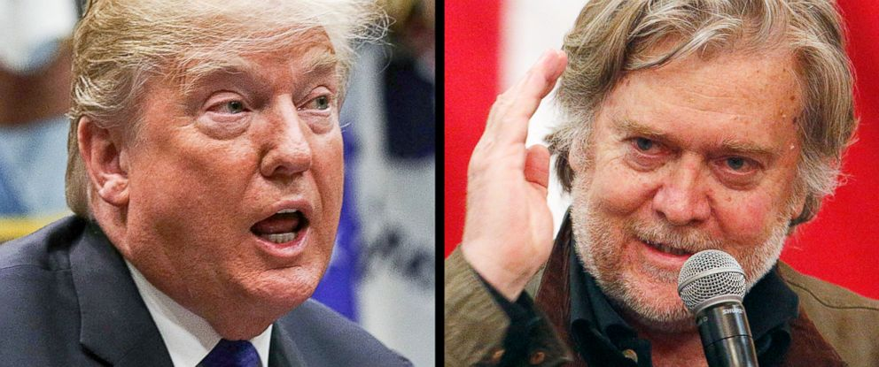 PHOTO: President Donald Trump, left, and former White House Chief Strategist Steve Bannon.