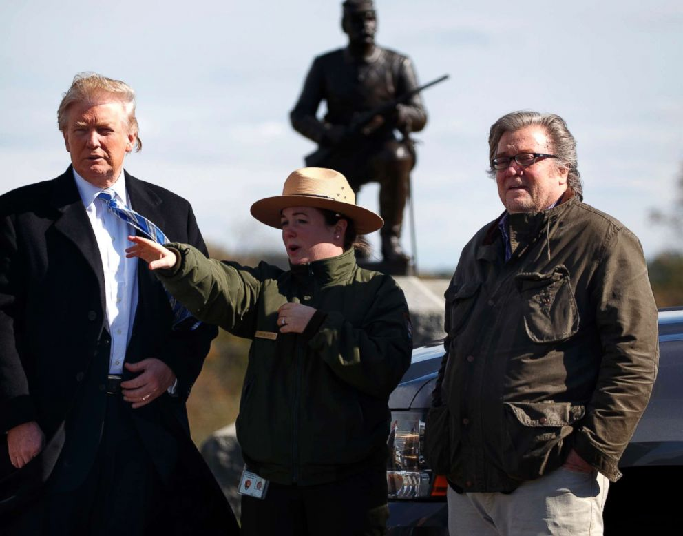 PHOTO: Park ranger Caitlin Kostic gives a tour near the high-water mark of the Confederacy at Gettysburg National Military Park to Republican presidential candidate Donald Trump, left, and campaign CEO Steve Bannon, Oct. 22, 2016, in Gettysburg, Pa.