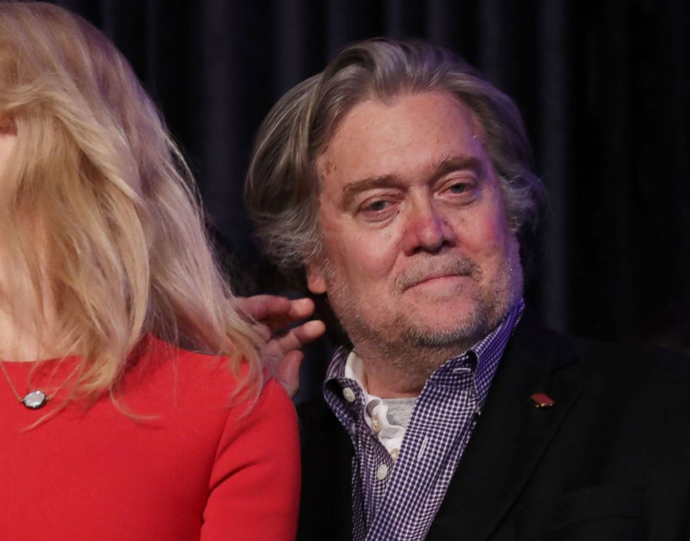 PHOTO: Republican president-elect Donald Trumps campaign manager, Kellyanne Conway, and Trump campaign CEO Stephen Bannon stand on stage during the election night event at the New York Hilton Midtown, Nov. 9, 2016.