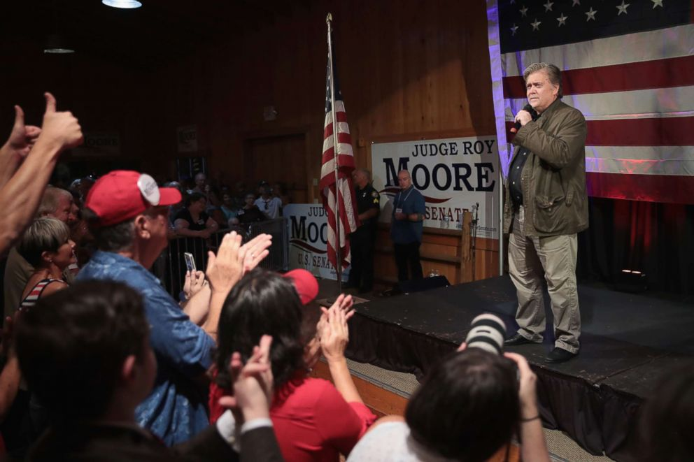 PHOTO: Former advisor to President Donald Trump and executive chairman of Breitbart News, Steve Bannon, speaks at a campaign event for Republican candidate for the U.S. Senate in Alabama Roy Moore on Sept. 25, 2017 in Fairhope, Alabama.