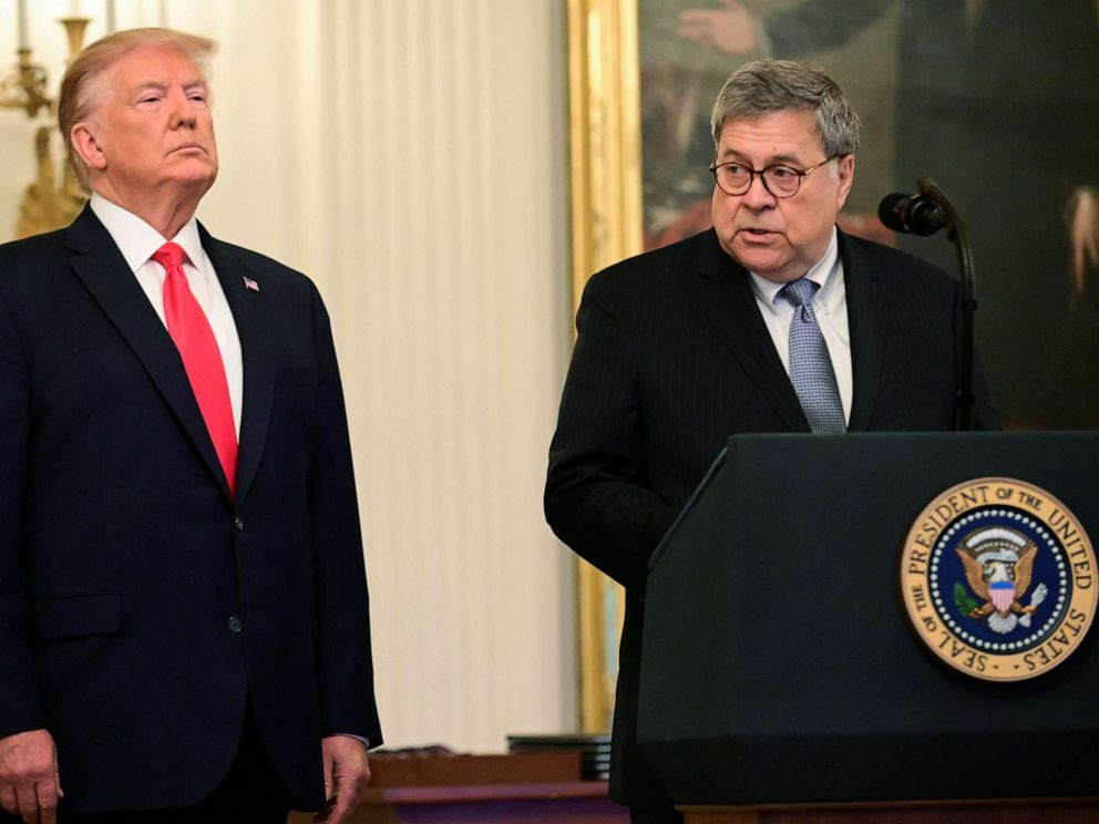 PHOTO: President Donald Trump and Attorney General William Barr participate in a presentation ceremony of the Medal of Valor during a ceremony in the East Room of the White House, Sept. 9, 2019.