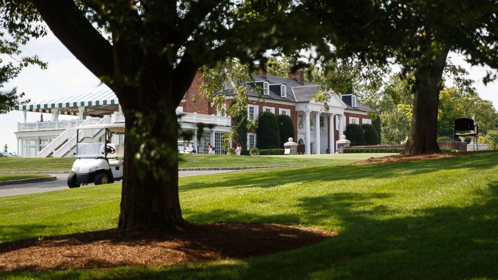 The clubhouse of Trump National Golf Club is seen from the media van, Aug. 9, 2018, in Bedminster, N.J., before a President Donald Trump meets with state leaders about prison reform.
