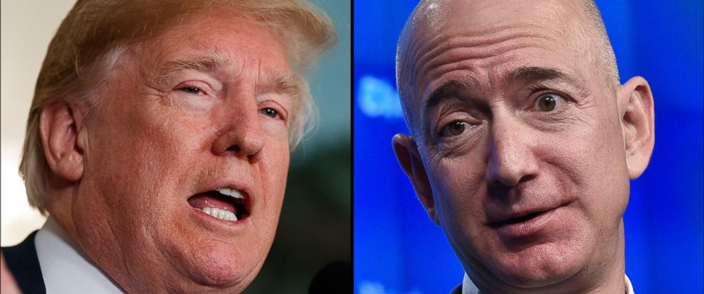 PHOTO: President Donald Trump, left and Amazon Founder Jeff Bezos.