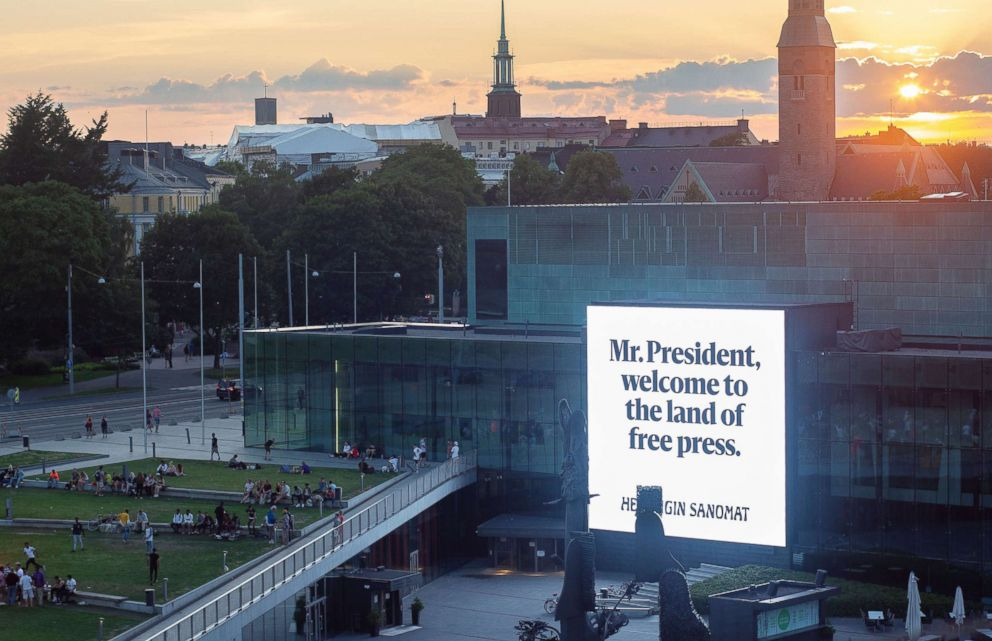 Finnish Newspaper Targets Trump And Putin With Giant Billboards Lauding Free Press