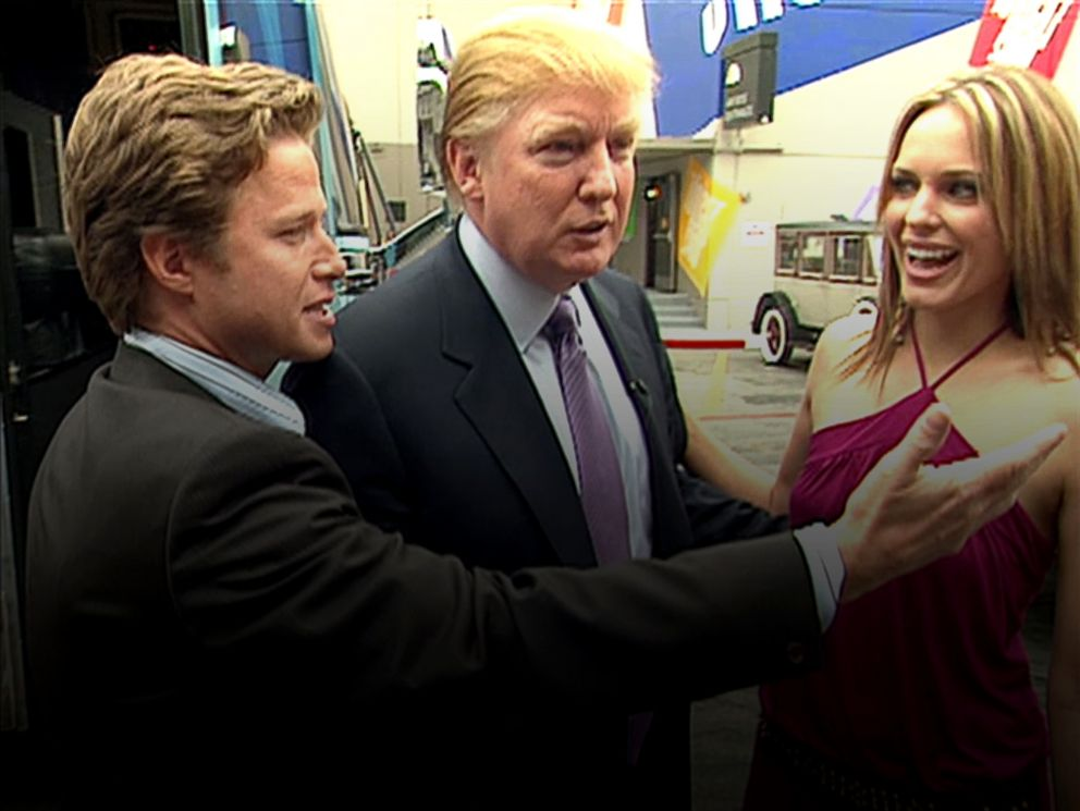 PHOTO: This still grab from a 2005 video shows Donald Trump, center, accompanied by Access Hollywood host Billy Bush, left, to the set of the soap opera Days of Our Lives with actress Arianne Zucker.