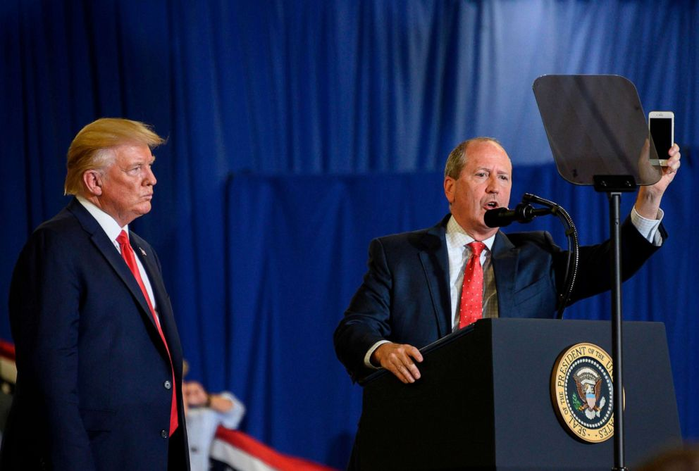 PHOTO: Dan Bishop speaks alongside President Donald Trump during a Keep America Great campaign rally at The Crown Arena in Fayetteville, North Carolina, Sept. 9, 2019.