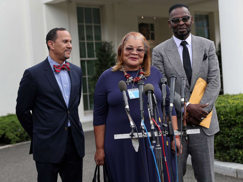 PHOTO: From left, Rev. Dean Nelson, Alveda King and Bishop Harry Jackson speak to the news media after meeting with President Donald Trump and Inner City Pastors at the White House in Washington, D.c., July 29, 2019.