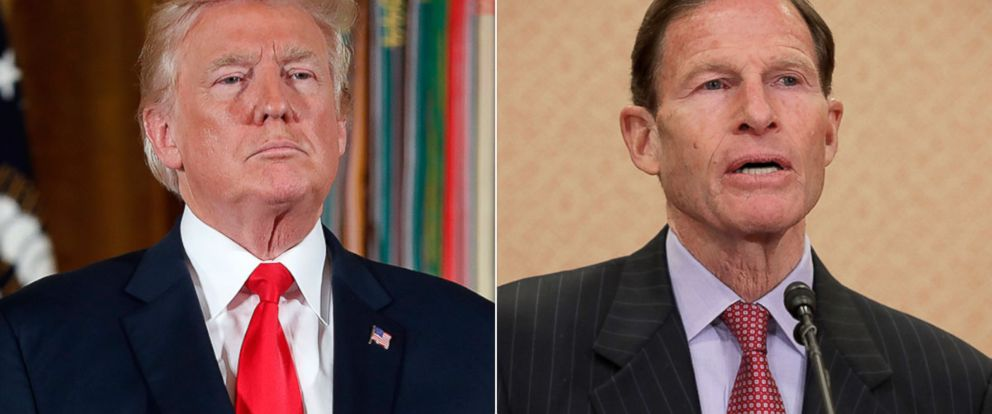 PHOTO: President Donald Trump during a ceremony in the East Room of the White House in Washington, July 31, 2017 | Sen. Richard Blumenthal (D-CT) holds a news conference at the U.S. Capitol, March 15, 2017, in Washington.