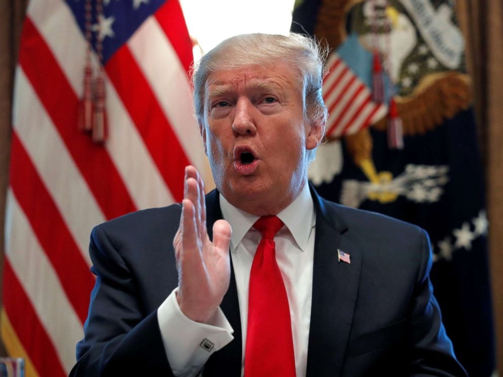 PHOTO: President Donald Trump speaks during a meeting to discuss fighting human trafficking on the southern border in the Cabinet Room of the White House in Washington, Feb. 1, 2019.