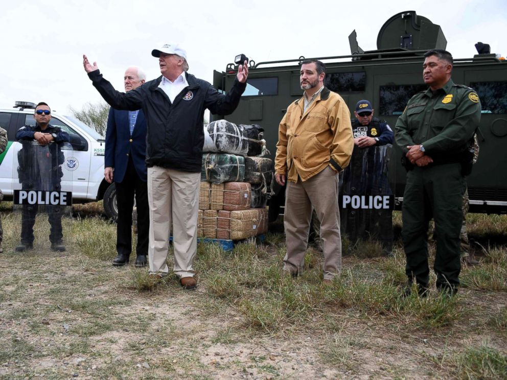 PHOTO: President Donald Trump speaks after he received a briefing on border security near the Rio Grande in McAllen, Texas, Jan. 10, 2019.
