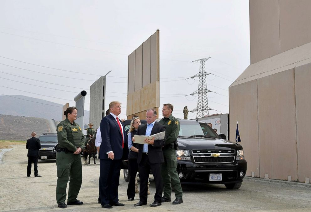 PHOTO: President Donald Trump inspects border wall prototypes in San Diego, Calif., March 13, 2018.