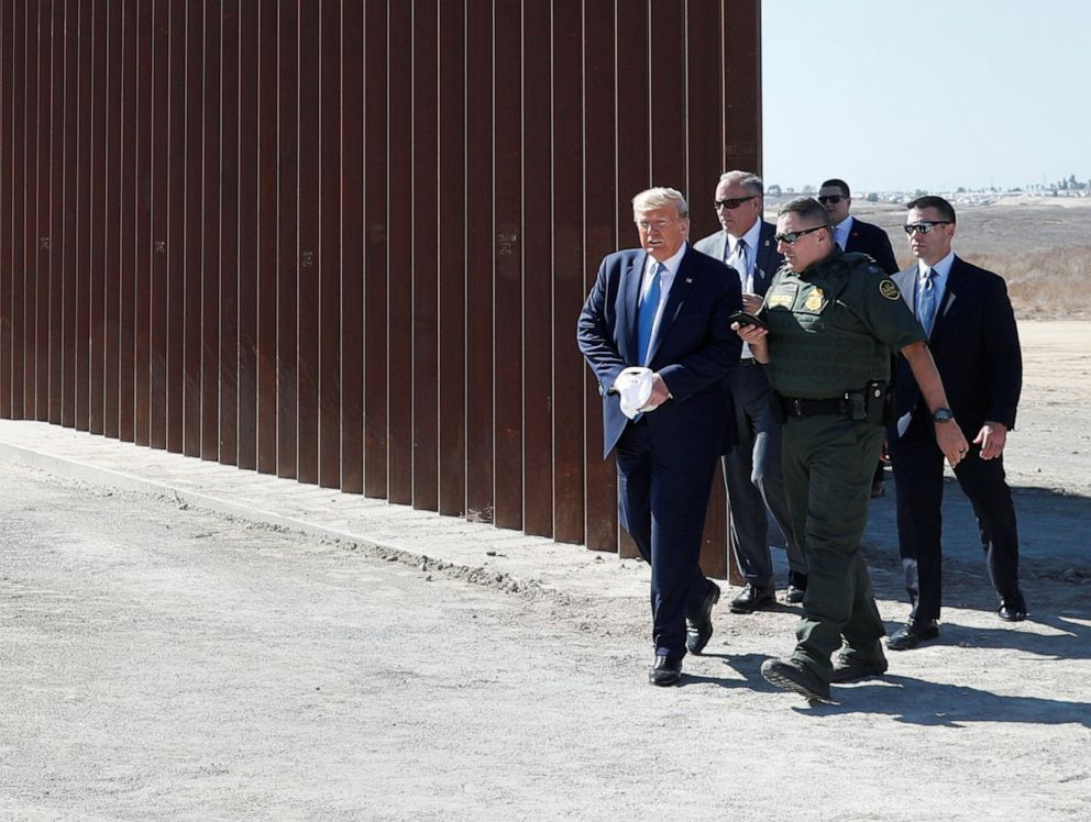 PHOTO: President Donald Trump visits a section of the U.S.-Mexico border wall in Otay Mesa, Calif., Sept. 18, 2019.