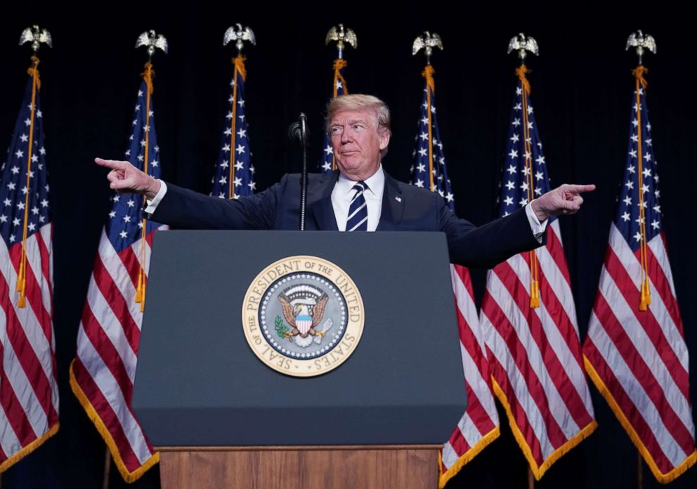 PHOTO: President Donald Trump speaks at the National Prayer Breakfast at a hotel in Washington, D.C., Feb. 8, 2018.