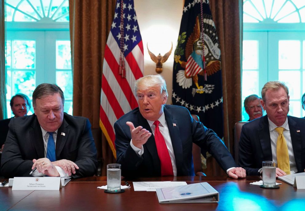 PHOTO: President Donald Trump speaks during a cabinet meeting in the Cabinet Room of the White House on Aug. 16, 2018 in Washington.