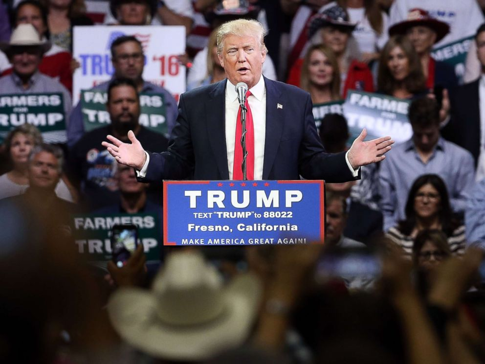 PHOTO: In this file photo, presumptive Republican presidential candidate Donald Trump speaks at a rally on May 27, 2016 in Fresno, Calif.