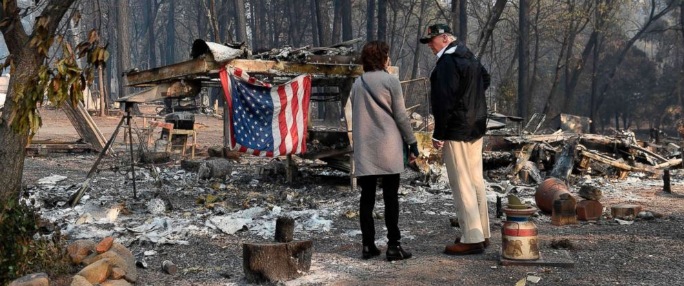 PHOTO: President Donald Trump views damage from wildfires in Paradise, Calif., Nov. 17, 2018.