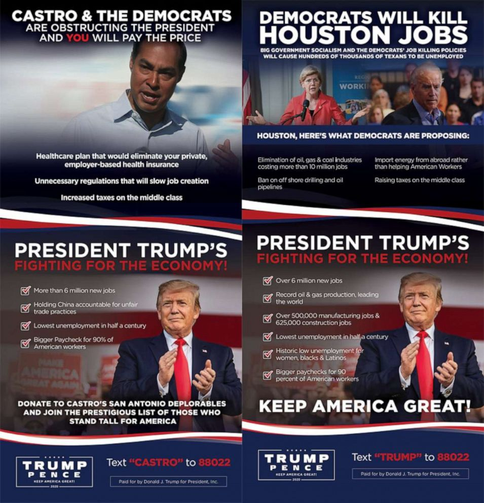 PHOTO: An advertisement provided to ABC News by the Trump campaign will run in the Houston Chronicle on the day of the Democratic Presidential Debate in Houston, Texas.