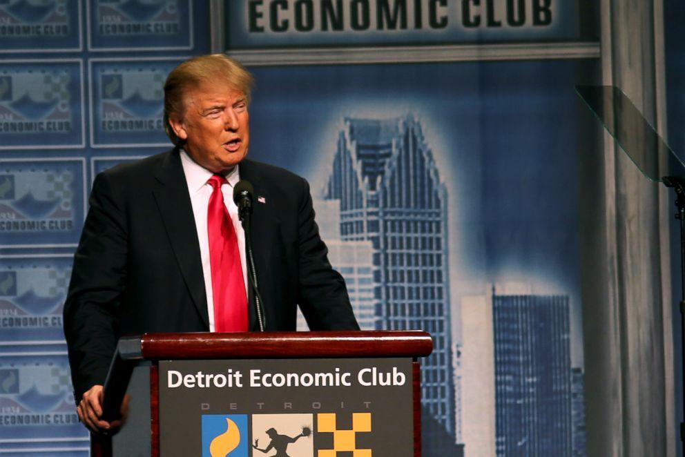PHOTO: Donald Trump addresses the Detroit Economic Club at Cobo Center in Detroit, Michigan, Aug. 8, 2016.