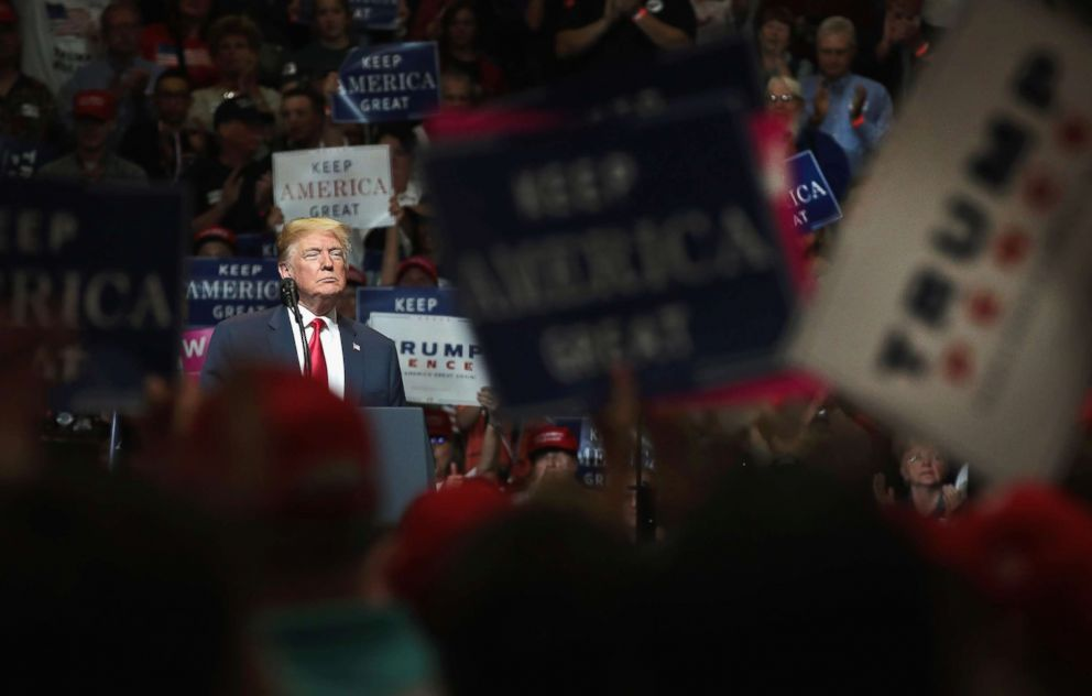 PHOTO: President Donald Trump speaks to supporters at a campaign rally on May 10, 2018 in Elkhart, Indiana.