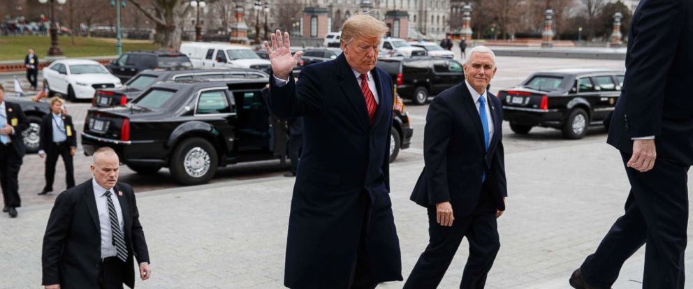 PHOTO: President Donald Trump and Vice President Mike Pence arrive on Capitol Hill for a Senate Republican policy lunch, Jan. 9, 2019, in Washington.
