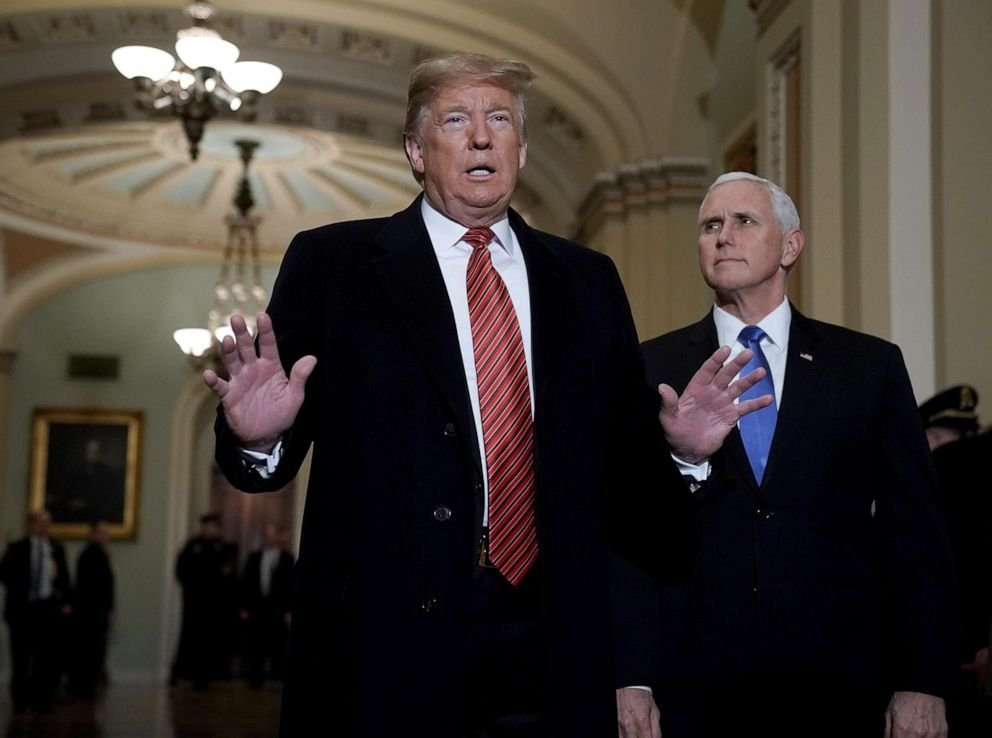 President Donald Trump and Vice President Mike Pence arrive at the Capitol to attend the weekly Republican Senate policy luncheon, Jan. 9, 2019.