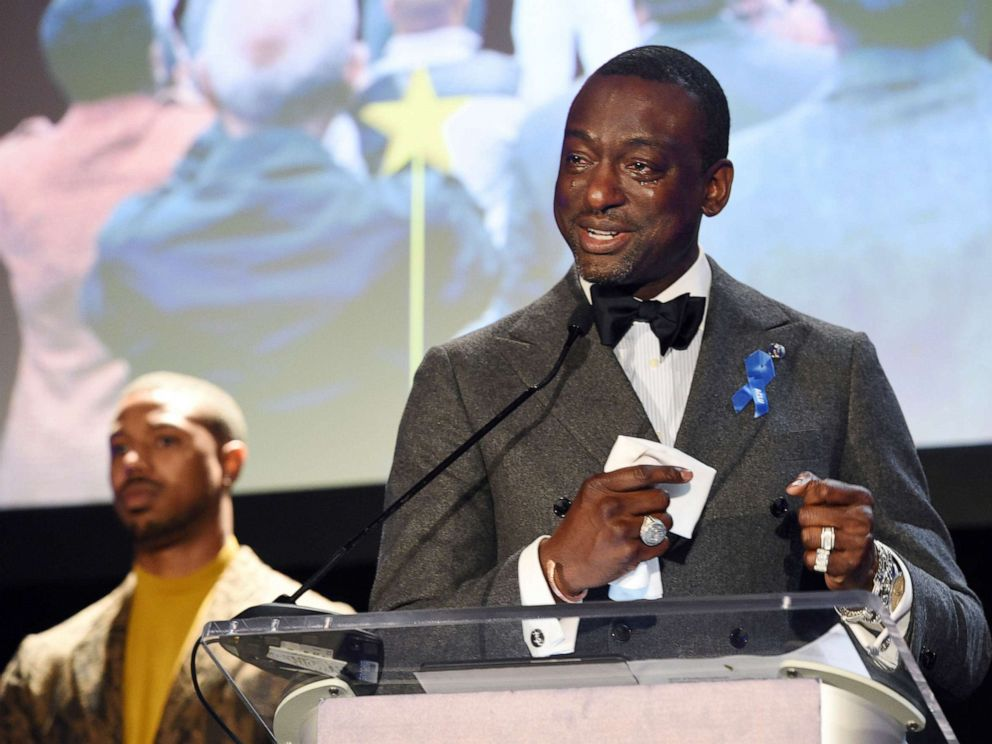 PHOTO: Yusef Salaam, right, addresses the audience as presenter Michael B. Jordan looks on during the ACLU SoCals 25th Annual Luncheon on Friday, June 7, 2019, in Los Angeles.