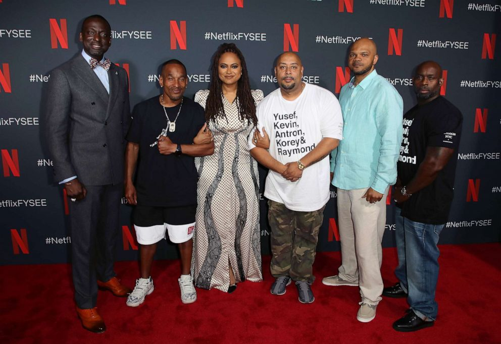 PHOTO: From left, Yusef Salaam, Korey Wise, Ava DuVernay, Raymond Santana, Kevin Richardson and Antron McCay are shown as they attend Netflixs FYSEE event for When They See Us on June 09, 2019, in Los Angeles.