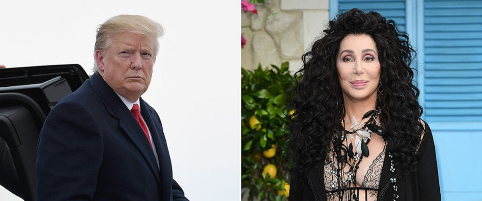 """PHOTO: President Donald Trump gets out of his car to board Air Force One in Minneapolis, April 15, 2019. Cher attends the World Premiere of """"Mamma Mia! Here We Go Again,"""" July 16, 2018, in London."""