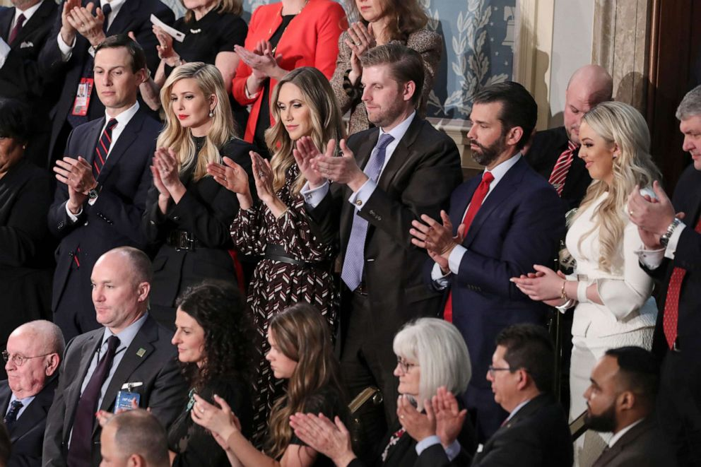 PHOTO: From left, Jared Kushner, Ivanka Trump, Laura Trump, Eric Trump, Donald Trump Jr., and Tiffany Trump listen during President Donald Trumps State of the Union address on February 5, 2019 in Washington.