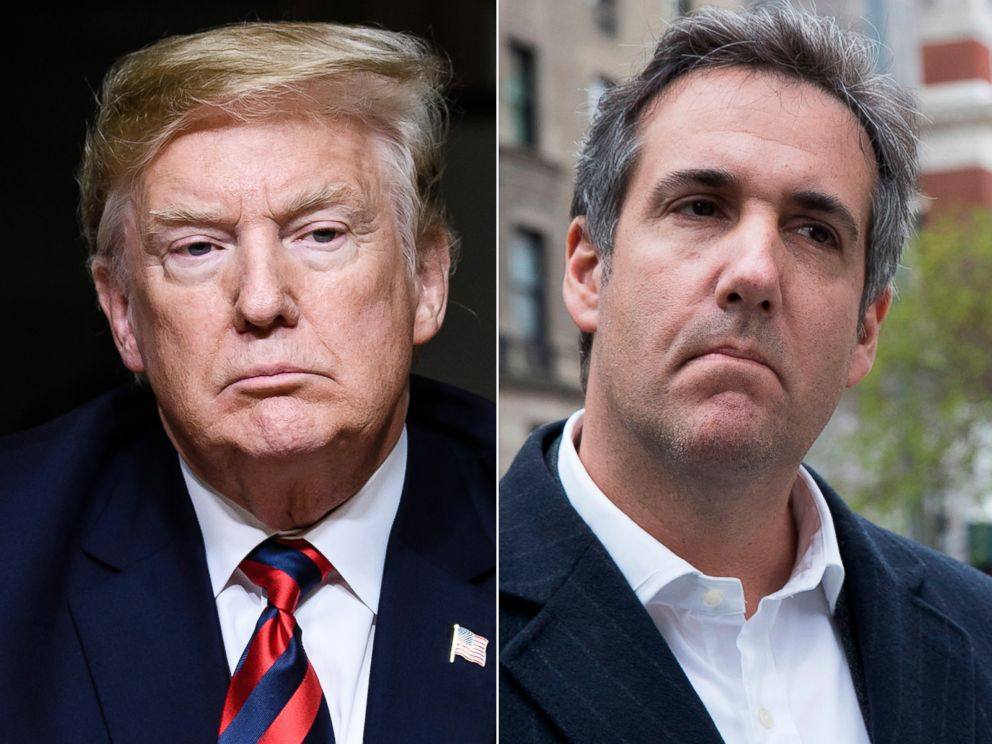PHOTO: Pictured (L-R) are President Donald Trump in Charlevoix, Canada, June 8, 2018 and Attorney Michael Cohen in New York, April 11, 2018.