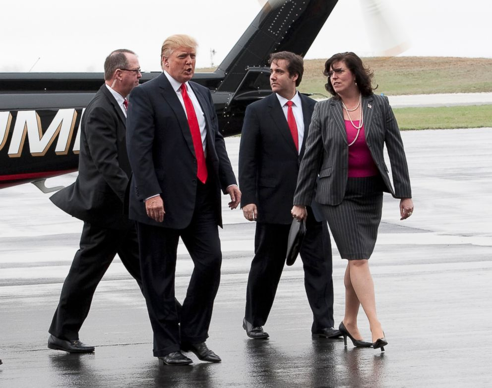 Donald Trump arrives in Portsmouth, New Hampshire, alongside his legal team, April 27, 2011.