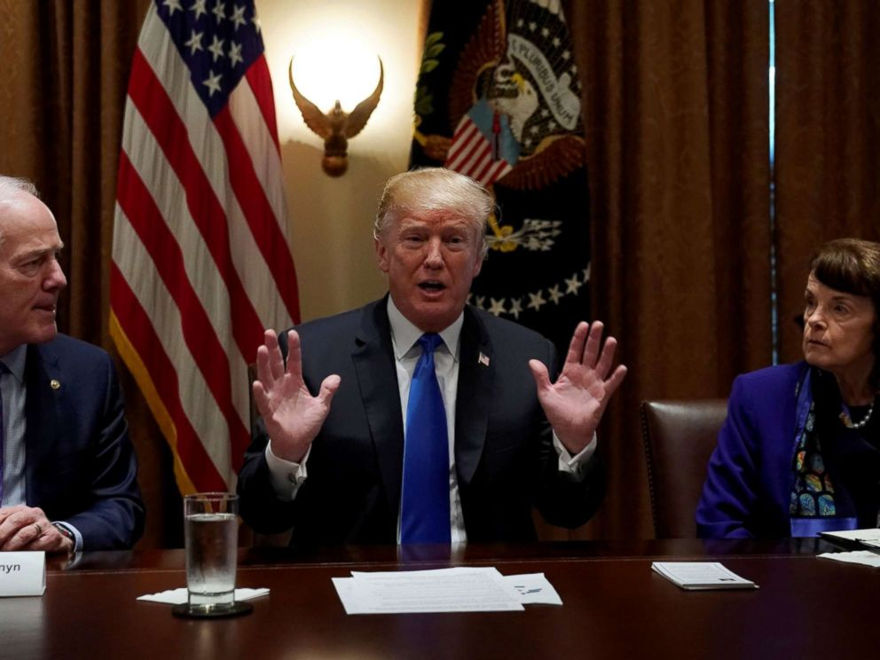 PHOTO: Flanked by Senators John Cornyn, R-TX, and Dianne Feinstein, D-CA, President Donald Trump meets with bi-partisan members of Congress to discuss school and community safety in the wake of the Florida school shootings in Washington, Feb. 28, 2018.