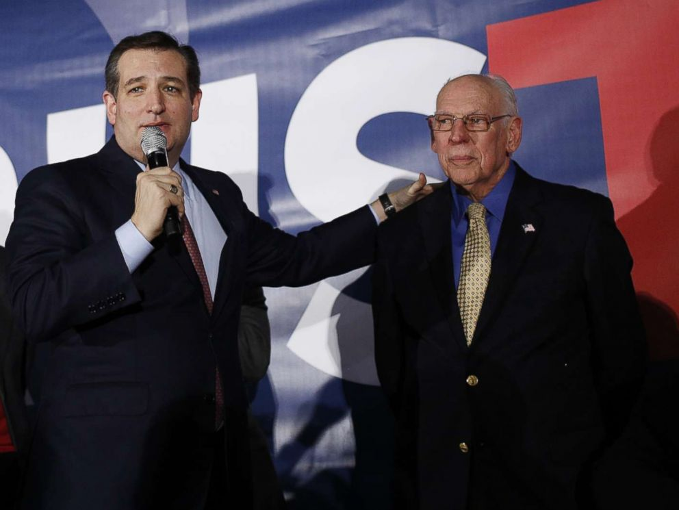 PHOTO: Sen. Ted Cruz, republican from Texas and 2016 presidential candidate,stands next to his father Rafael Cruz, during caucus night in Des Moines, Iowa,Feb. 1, 2016.