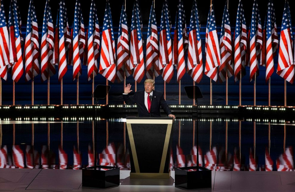 PHOTO: Donald Trump accepts the Republican nomination for President at the 2016 Republican National Convention in Cleveland, Ohio, USA on July 21, 2016.