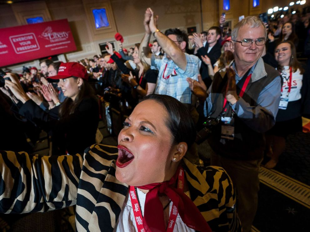 PHOTO: Ana Veronica Lacayo cheers as President Donald Trump addresses the Conservative Political Action Conference in National Harbor, Md., Feb. 23, 2018.