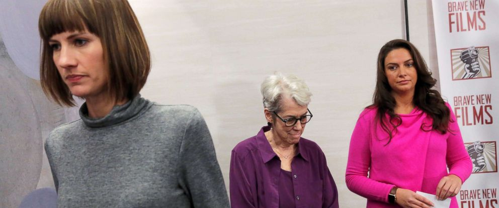 "Rachel Crooks, Jessica Leeds and Samantha Holvey exit a news conference for the film ""16 Women and Donald Trump"" which focuses on women who have publicly accused President Trump of sexual misconduct, in New York City."