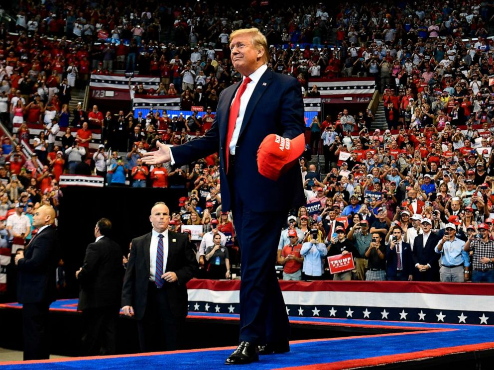 PHOTO: President Donald Trump arrives for a Keep America Great campaign rally at the BB&T Center in Sunrise, Fla. on Nov. 26, 2019.