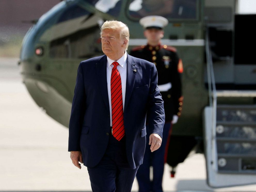 PHOTO: President Donald Trump arrives to board Air Force One at John F. Kennedy Airport after attending the United Nations General Assembly, Sept. 26, 2019, in New York.