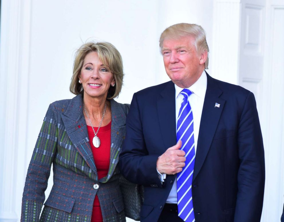 PHOTO: File photo of the President-elect Donald Trump and Vice President Mike Pence with with Betsy DeVos, in Bedmister, New Jersey, Nov. 19, 2016.