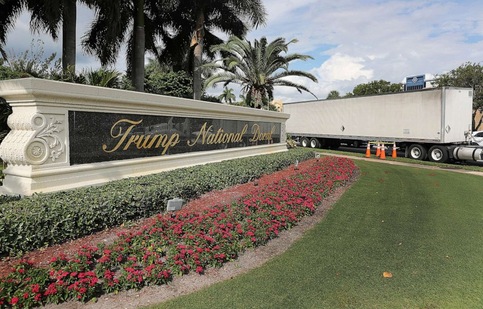 PHOTO: A sign is seen near an entrance to the Trump National Doral golf resort owned by U.S. President Donald Trumps company on Oct. 17, 2019, in Doral, Fla.