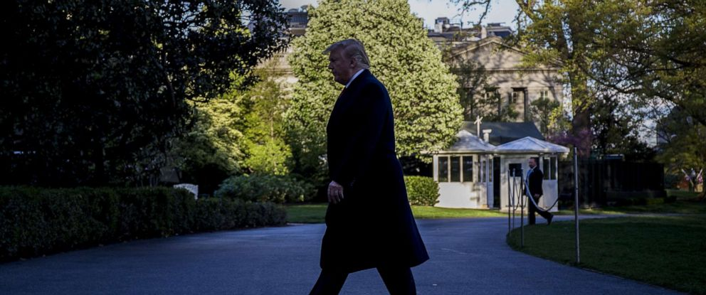 PHOTO: President Donald Trump returns to the White House following a trip to Minnesota on April 15, 2019 in Washington, D.C.
