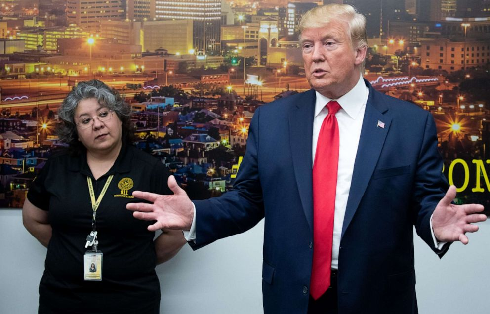 PHOTO: President Donald Trump addresses the press throughout a talk over with to El Paso Regional Communications Heart in El Paso, Texas, August 7, 2019, following closing weekends mass shootings.