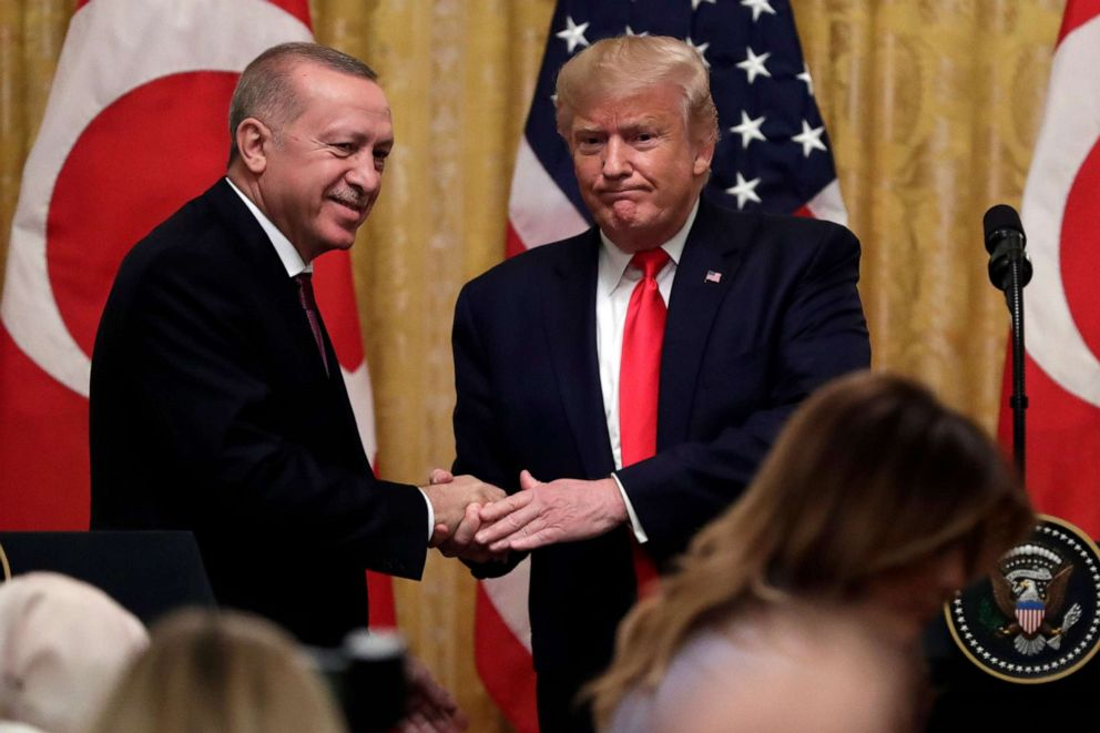 PHOTO: President Donald Trump shakes hands with Turkish President Recep Tayyip Erdogan after a news conference in the East Room of the White House, Nov. 13, 2019, in Washington.